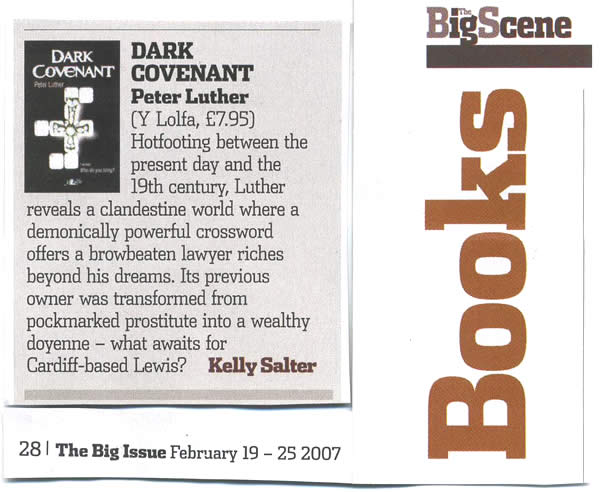 Review of Dark Covenant by Kelly Slater of the Big Issue (Wales) issue no 548