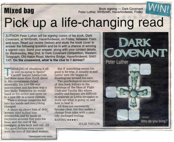 The Tenby Observer announces the release of Dark Covenant (March 2007)
